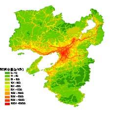 関西地域における平日昼間の黒色炭素粒子発生量分布